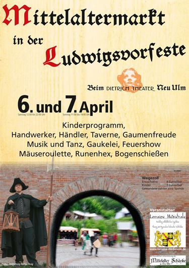Plakat für den Markt in der Ludwigsvorfeste zu Neu Ulm am 06. und 07. April 2013