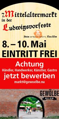 Flyer Mittelaltermarkt in der Ludwigsvorfeste zu Neu Ulm