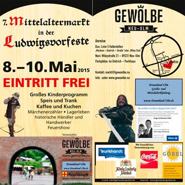 Flyer zum Mittelaltermarkt in der Ludwigsvorfeste zu Neu Ulm